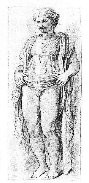 Anasyrma - Ermafrodito anasyromenos sketch by Peter Paul Rubens.