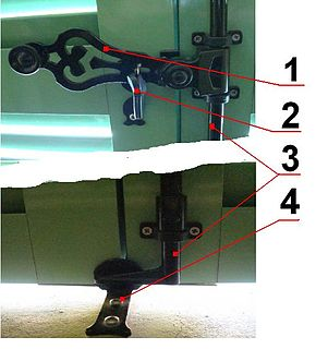 Espagnolette locking device for a French door or casement window
