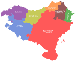 The seiven provinces o the Basque Kintra, as claimit bi certain Basque sectors.