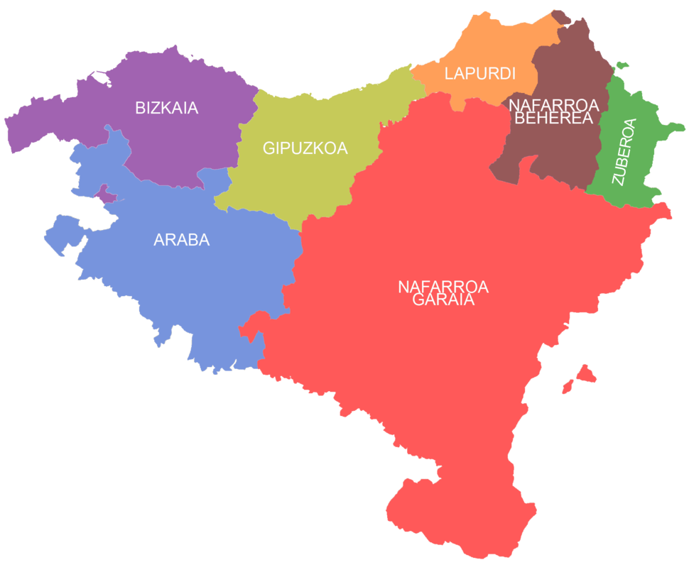 The seven provinces of the Basque Country, as claimed by certain[clarification needed] Basque sectors