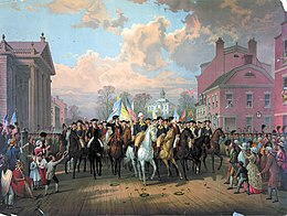 A New York City street scene with a mounted George Washington riding at the head of a parade.