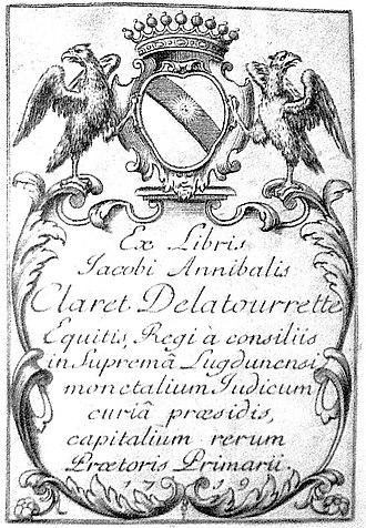 Charles Pierre Claret de Fleurieu - Arms of the Fleurieu family and ex-libris