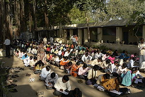 Test (assessment) - Students take exams in Mahatma Gandhi Seva Ashram, Jaura, India.