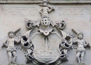 Frustberg House - Coat of arms of Eybert Tiefbrunn over the main entrance