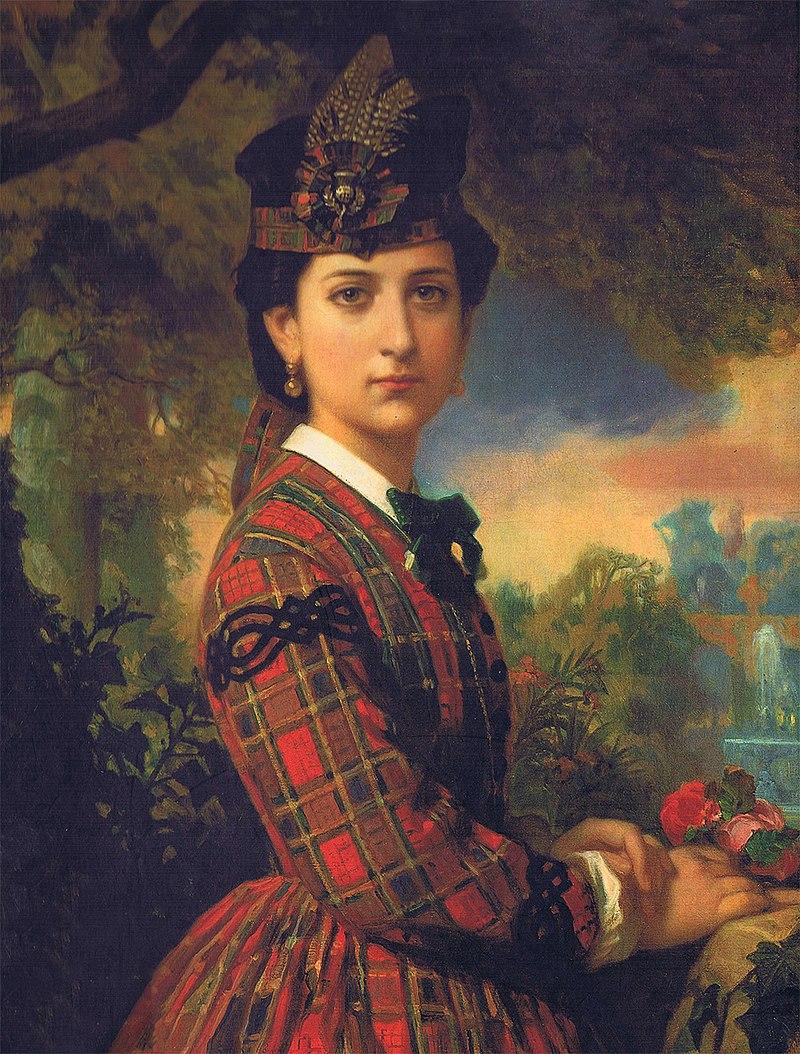 F. de Madrazo - Señorita de Llera con traje escocés, detalle (New York, Colección privada, 1870. Óleo sobre lienzo, 88 x 71 cm), detalle.jpg