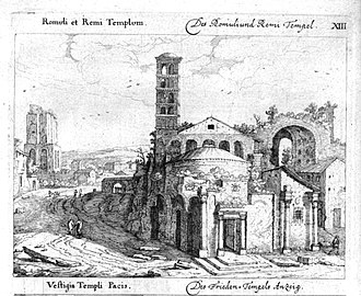 Santi Cosma e Damiano - Engraving of the Church Giovanni Battista Falda (1665)