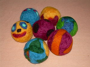 Photo of balls made by needle felting