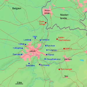 Fortified position of Liège - Map of the fortified position of Liège. The forts built between 1888 and 1891 are in blue (PFL II), the forts built in the 1930s in red (PFL I)