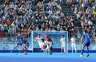 Field hockey Team sport version of hockey played on grass or artificial turf with sticks and a round ball