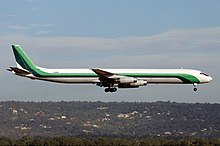 Dc 8 63 F Of First International Airways Landing At Perth Airport 2004