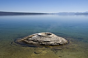 Teton County, Wyoming - Fishing Cone Geyser and Yellowstone Lake.