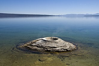 Teton County, Wyoming - Fishing Cone Geyser and Yellowstone Lake