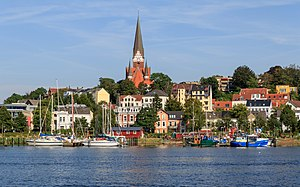 Angeln - Flensburg is the largest Anglian town. View to Flensburg-Jürgensby on the Anglian side of the Flensburg Firth.