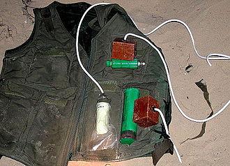 Explosive belt - A suicide vest captured by the Israel Defense Forces (2002)