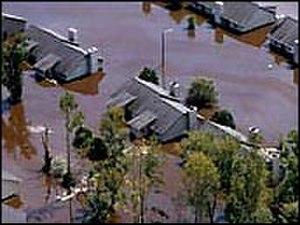 Greenville, North Carolina - Tar River flooding homes after Hurricane Floyd