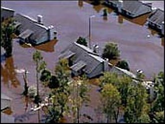 Greenville, North Carolina - Tar River flooding homes after Hurricane Floyd