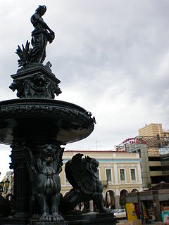 A fountain in Georgiou I Square