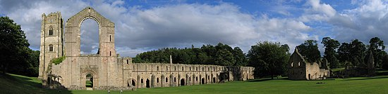 Fountains Abbey in Yorkshire, England.