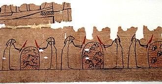 Cavern deities of the underworld - Image: Fragments of Funerary Papyrus of Amduat MET vs 28.3.112
