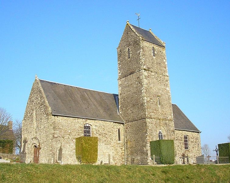Montaigu-les-Bois (Normandie, France). L'église de L'Orbehaye.