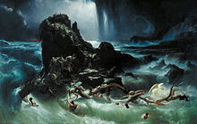 A rocky outcrop is surrounded by a swirling torrent of water under dark storm-clouds. A cluster of people swept into the water cling to shattered tree-trunks. An angel hovers over them.