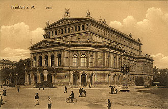 "Collotype - Postcard with the theme of ""Alte Oper"" in Frankfurt am Main, about 1900."