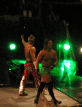 Frankie Kazarian - Kazarian and Shannon Moore after winning a match at a taping of Velocity.