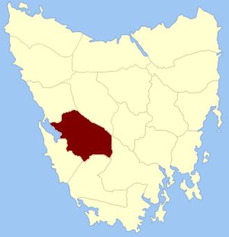 Franklin Land District - Location in Tasmania