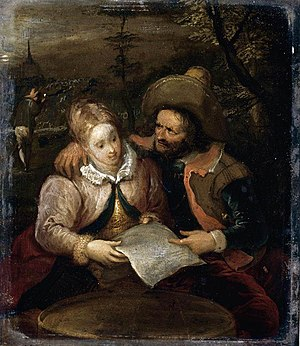 Frans Francken III - A Young Lady and a Cavalier Holding a Letter
