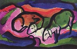 Carneiros, pintura de Franz Marc.