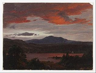 Turner Pond avec Pomola Peak et Baxter Peak, Maine