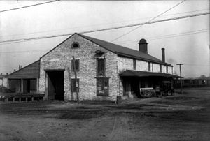 Frederick Branch (Baltimore and Ohio Railroad) - Original Frederick freight station on South Carroll Street, built 1832, from a 1906 photo. The building was demolished in 1911.