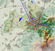 Topographische Karte Freiburgs mit Schienennetz