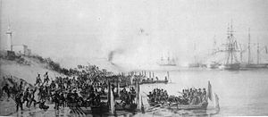 Franco-Moroccan War - Bombardment of Mogador: French troops disembarking on the island of Mogador, in Essaouira bay in 1844.