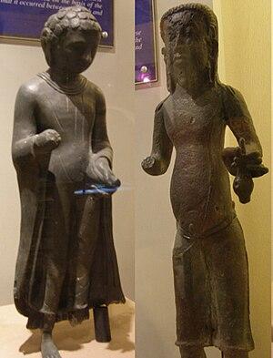 Gangga Negara - 6th century Buddha statues (left) found at Ipoh. 9th century Hindu priest teacher statue found at Jalong, Perak.
