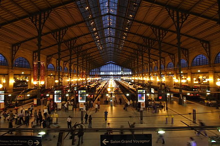The Gare du Nord railway station is the busiest in Europe. Gare du Nord night Paris FRA 002.JPG