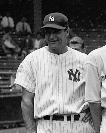 Lou Gehrig was the first Yankees player to have his number retired, in 1939, which was the same year that he retired from baseball due to a crippling disease. Gehrig cropped.jpg