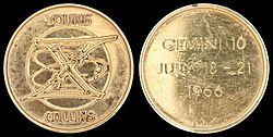 Gemini 10 mission emblem and crew names (front). Flight dates (back)