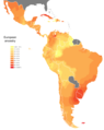 Genetic European ancestry in Central and South America.png