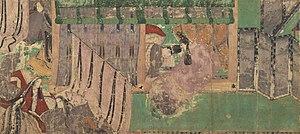 "Genji Monogatari Emaki - A scene of Kashiwagi. All paintings were produced by ""tsukuri-e"" process."