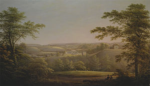 The Lass of Richmond Hill - The Yorkshire countryside around Richmond, with the town in the background. c.1800. Painting by George Cuitt.