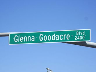 Glenna Goodacre - Goodacre is honored by the naming of a downtown Lubbock street which extends from the Jones AT&T Stadium at University Avenue to the east.