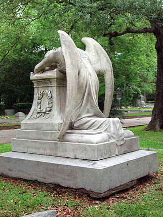 Glenwood Cemetery (Houston, Texas) - Sample of the monument architecture in Glenwood--this statue is commonly known as the Angel of Grief