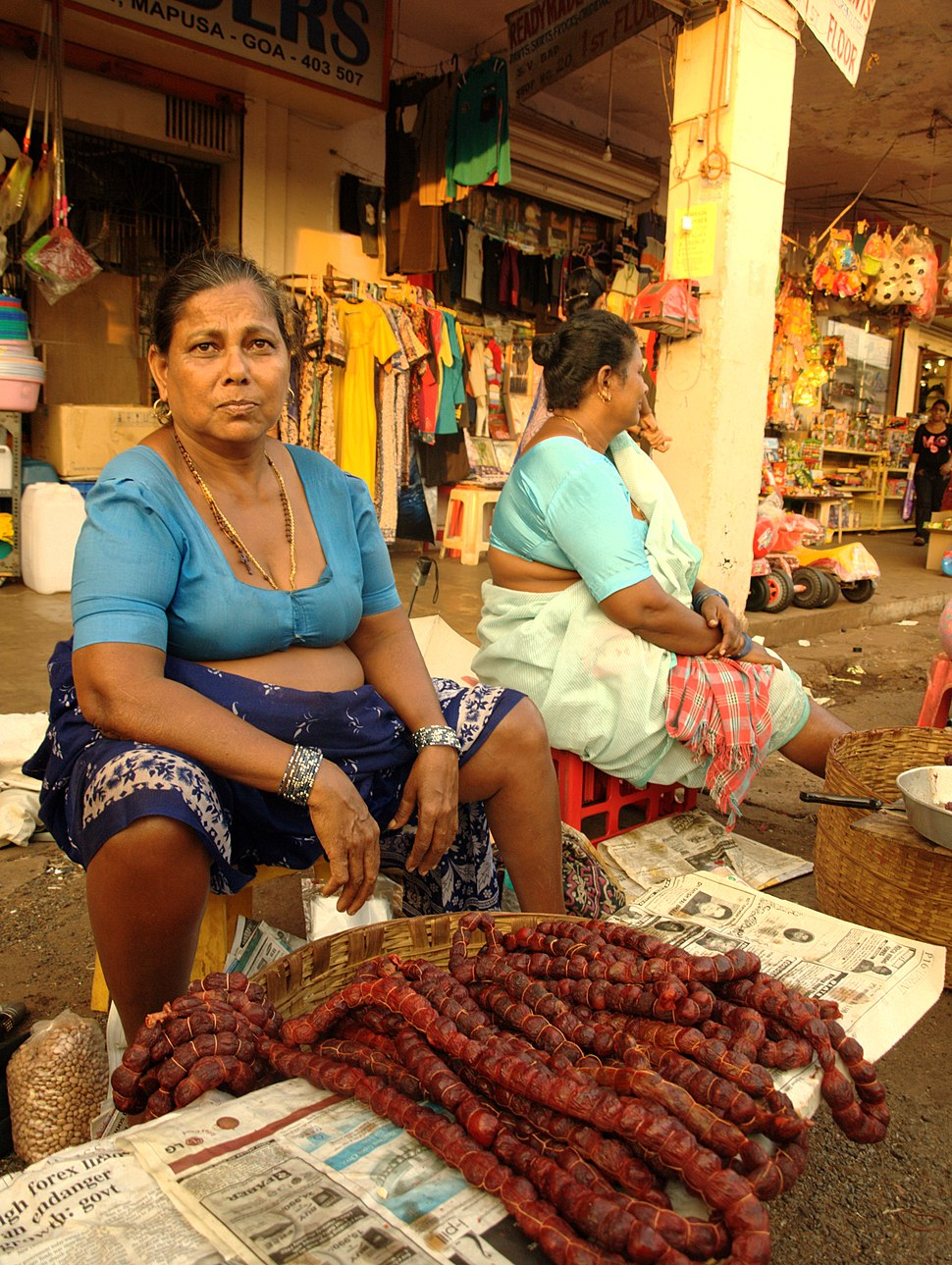 Goan sausages being sold at the Mapusa market, Goa, India 03