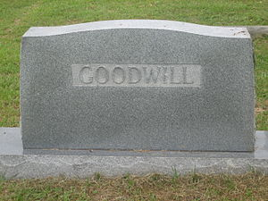 Jasper Goodwill - The Goodwill family grave marker in historic Minden Cemetery in Minden, Louisiana