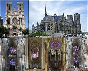 Différentes facettes de la Cathédrale Notre-Dame de Reims (1211-1427) CC BY-SA 4.0 pour le travail de MathKnight à partir des photos de Bodoklecksel, Vassil, Calvin Kramer, Garitan, athKnight, Diliff et DXR via Wikimedia Commons