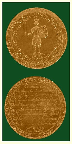 Siege of Groningen (1594) - A golden coin celebrating the capture of Groningen and the Restoration of the Seven Provinces