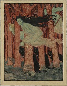 Acuarela que muestra a tres brujas vestidas con escobas blancas, volando entre los troncos rojos de los árboles, al pie de los cuales se encuentran tres lobos negros.