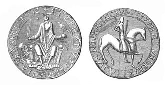 Theobald of Bec - Both sides of the seal of Stephen, from an engraving made in 1846