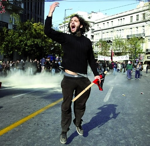 Greek student protestor during 2009 G20 London summit protests